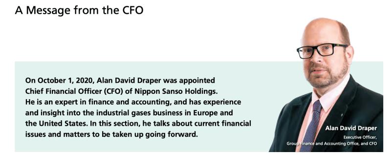 Nippon Sanso hat mit Alan Draper einen neuen CFO bestellt.