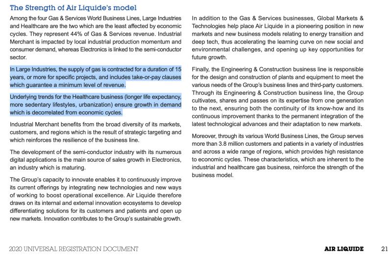 Air Liquide Geschäftsbericht: Industriegase-Branche ist attraktiv, weil es wiederkehrende Umsätze gibt.