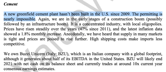 David Einhorn von GreenLight Capital hat in die Zementindustrie investiert und Aktien von Buzzi Unicem gekauft.