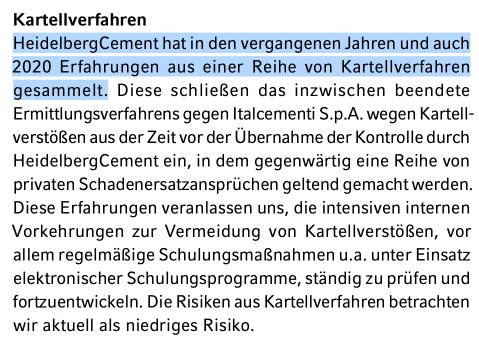 Risiko Kartellverfahren der HeidelbergCement Aktie.