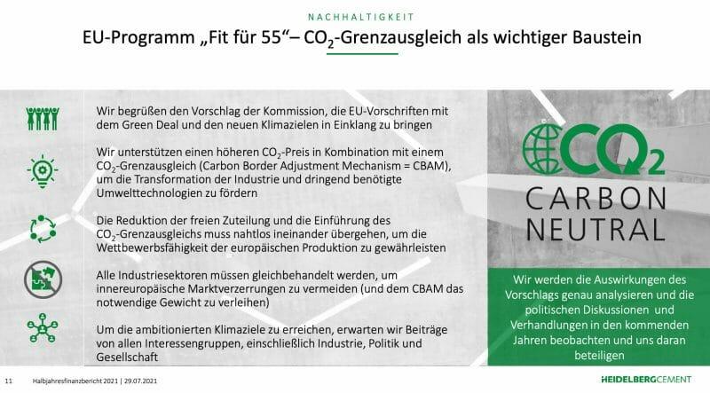 HeidelbergCement bekannt sich zum Pariser Klimaabkommen und den Weg hin zur CO2-Neutralität.