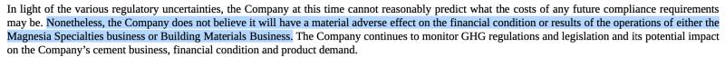 Das Management der Martin Marietta Aktie erwartet keine großen Auswirkungen durch den CO2-Ausstoß des Unternehmens.